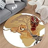 Nalahome Modern Flannel Microfiber Non-Slip Machine Washable Round Area Rug-houette of Africa Map and Local Animal Elephant Lion Tribal Mask Savannah Wild Life Multi area rugs Home Decor-Round 79''