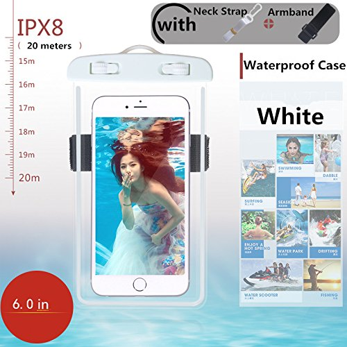 Universal Waterproof Case, Waterproof Phone Pouch Dry Bag with Armband & Neck Strap for iPhone X 8 8Plus 7 7Plus 6S 6SP 6 6Plus, Samsung Galaxy S9/S9 Plus/S8 Plus/Note 8 6 5 up to 6.0'' (White,Black) by CUCIUS (Image #2)