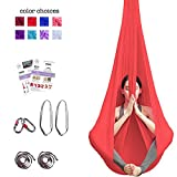 Aum Active Aerial Yoga Hammock - Include Aerial Silk Fabric, Carabiners, Extension Straps, 30-Day Pose Guide - Premium Yoga Swing for Antigravity Exercises, Inversion & Sensory Therapy (Red)