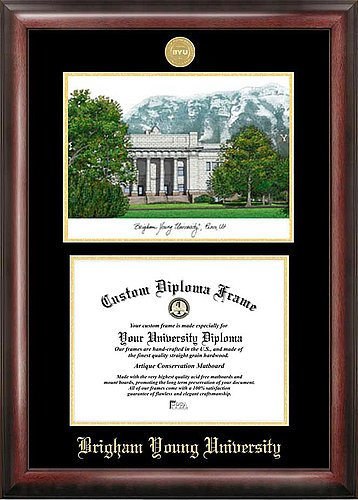 Brigham Young University Embossed Gold Foil Seal Graduate Diploma Frame with Imprinted Lithograph