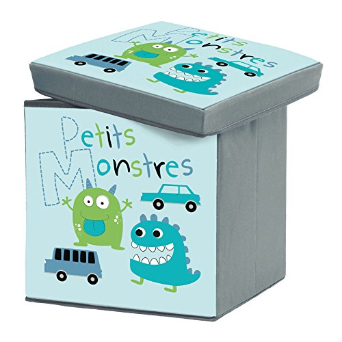 Charme et Douceur 1721810 Little Monsters Folding Storage Box Polyester Printed 38x 38x 38cm