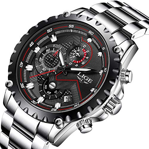 (LIGE Men's Watches Fashion Luxury Military Sport Waterproof Chronograph Watch for Men Classic Casual Analog Quartz Wrist Watch with Silver Black Stainless Steel Band)