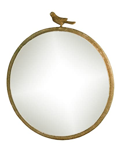 Vintage Style Round Mirror With Bird 18quot