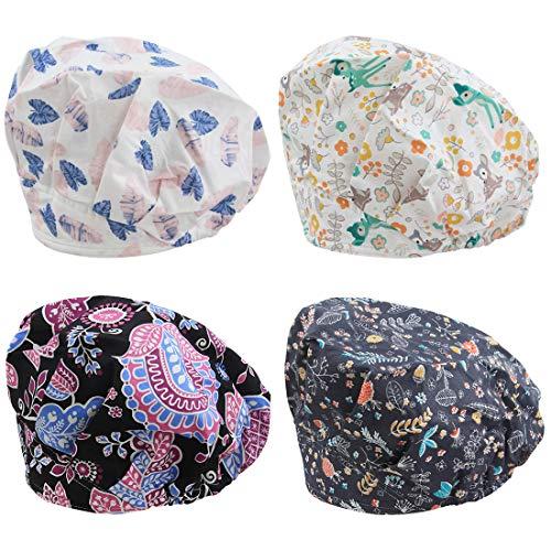 Adjustable Scrub Cap Sweatband Bouffant Hats Value Set ()