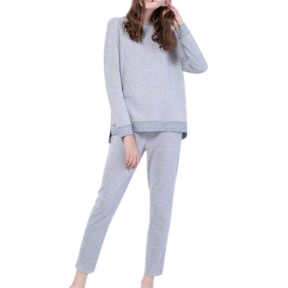 Ankle-Length Pants Set Outfit 2Pcs Fashion Women Striped O-Neck Long Sleeve Top Palarn Clearance Clothes