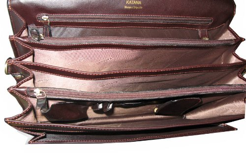 cuir 4 en choco soufflets cartable 63033 marron 78gqwxT