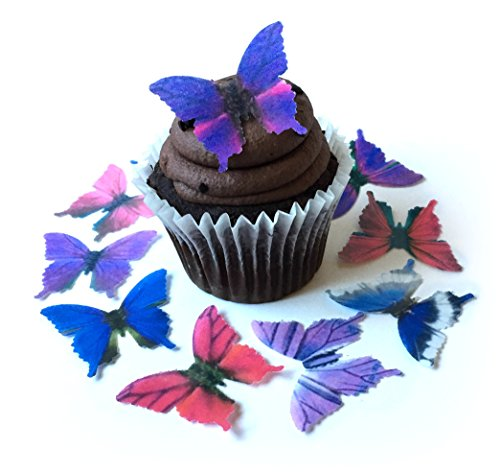 Assorted Purple Pink Blue Wafer Paper Butterflies 1.75 Inch for Decorating Desserts Pack of 12 ()