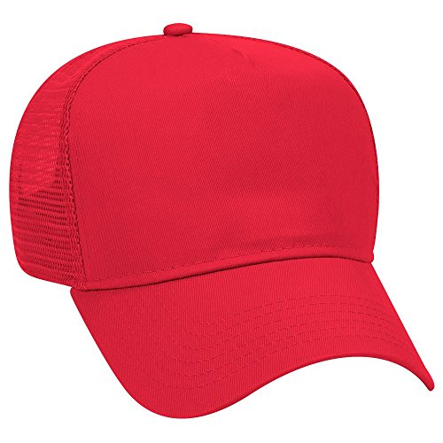 OTTO Cotton Blend Twill 5 Panel Pro Style Mesh Back Trucker Hat - Red ()