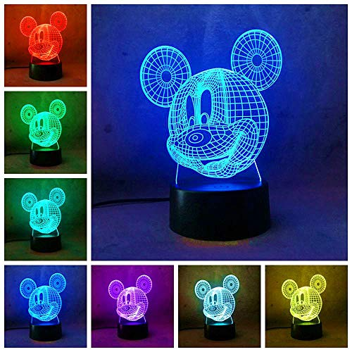 (Amroe Mickey Mouse Night Light for Kid Baby Party Supplier Cartoon LED Desk Table Lamp 7 Color Change Remote Control USB Base Battery Power Birthday Children Day Gift)
