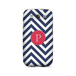 Cherry Button P on Navy Blue Zig Zags - Geeks Designer Line Monogram Series Hard Case for Samsung Galaxy S3