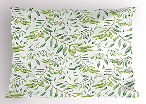 Green Leaf Pillow Sham, Watercolor Style Olive Branch Mediterranean Tree Organic, Decorative Standard King Size Printed Pillowcase, 20 X 30 Inches, Avocado Green Olive Green White