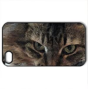 big grey cat - Case Cover for iPhone 4 and 4s (Cats Series, Watercolor style, Black)