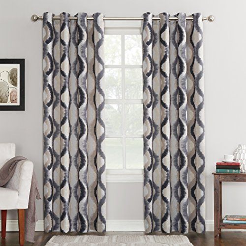 Sun Zero Burbank Geometric Ogee Watercolor Print Energy Efficient Grommet Curtain Panel, 54