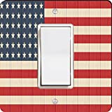 Rikki Knight 8615 Single Rocker America Flag On Distressed Wood Design Light Switch Plate