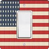 Rikki Knight 8615 Single Rocker America Flag On Distressed Wood Design Light Switch Plate