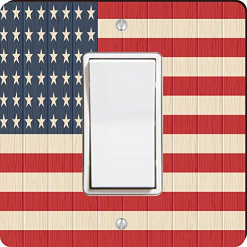 Rikki Knight 8615 Single Rocker America Flag On Distressed Wood Design Light Switch Plate by Rikki Knight