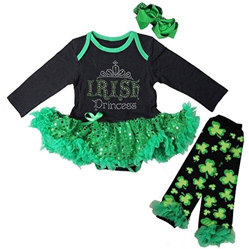Kirei Sui Baby Irish Princess Sequin Bodysuit Warmers Small Black