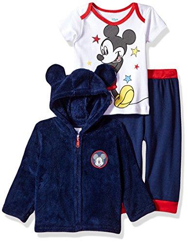 Disney Baby Boys' Mickey Mouse 3 Piece Hoodie, Bodysuit T-Shirt, Pant Set, Medieval Blue, 18M -