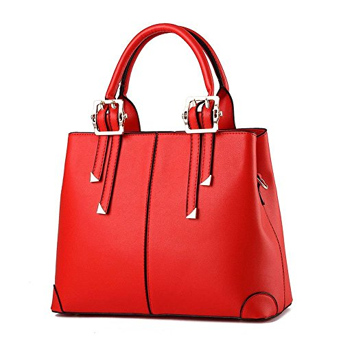 Ryse Womens Fashionable Metal Classic Exquisite Elegant Handbag Shoulder Bag(Red)