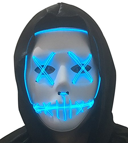 Easy Cosplay Costumes For Guys (DevilFace Halloween Cosplay Light Up Mask EL Wire LED Mask Frightening Wire Melbourne Shuffle (Blue))