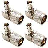 exgoofit PL259 UHF male Plug to BNC female Connector Right angle 90 degrees Jack adapter Radio Adapter PL259 RF Coax Coaxial Cable Connector (4-Pack)