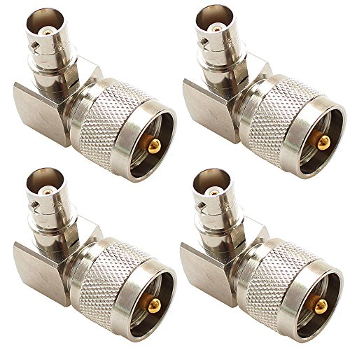 exgoofit PL259 UHF male Plug to BNC female Connector Right angle 90 degrees Jack adapter Radio Adapter PL259 RF Coax Coaxial Cable Connector (4-Pack) by exgoofit