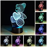 Etzon Technologies 3D Optical Illusion Night Light Lovely Bear - 7 LED Color Changing Lamp Night Light For Baby Kids- Cool Soft Light Safe Nightlight For Girls Decor gifts