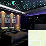 Outgeek Glow in the Dark Stars Wall Stickers, 480 Adhesive Stars and Moons Dots Ceiling Wall Decals for Kids Bedding Room Birthday Gifts Home Decor