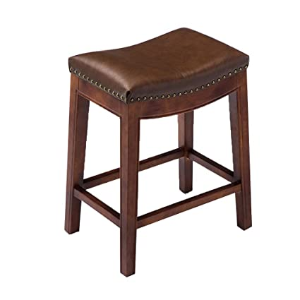 Strange Amazon Com Cylq Backless Solid Wood Bar Stool Pu Leather Cjindustries Chair Design For Home Cjindustriesco