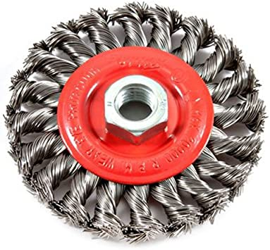 "4 Inch Twist Wire Wheel 4/"" x 5//8-11/"" Knot Wheel Wire Brush Stainless Steel"