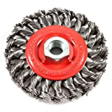 Forney 72759 Wire Wheel Brush, Twist Knot with 5/8-Inch-11 Threaded Arbor, 4-Inch-by-.020-Inch