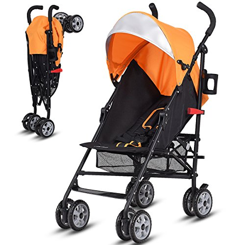 Costzon Lightweight Stroller, Baby Umbrella Convenience Stroller, Travel Foldable Design with Sun Canopy/5-Point Harness/Storage Basket (Orange)