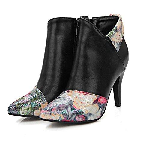 H Hfour Seasons Femmes (beige Noir) Mosaïque Fleur Courte Bottes Fines Talon-caoutchouc Bout Pointu Chaussures Antidérapantes Pour Femmes, Noir, 40
