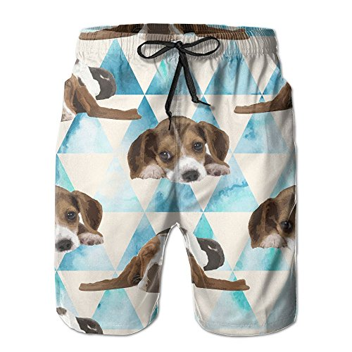 NUNOFOG Lovely Dog Men's Swim Boardshorts Quick-Dry Surf Beach Shorts Casual Sport Trunks Shorts Beach Pants with Pocket