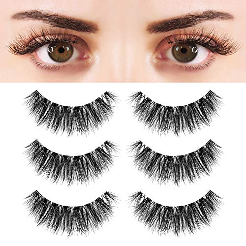 BEPHOLAN 3 Pairs Multi-layered Faux Mink Lashes  Fluffy Volume Lashes  Natural Look  3D Layered Effect  Reusable  100% Handmade & Cruelty-Free  XMZ91