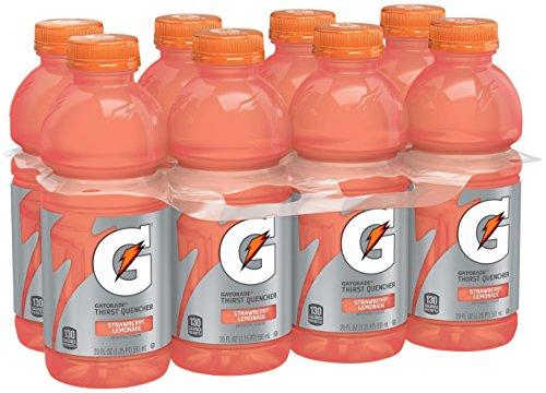 Gatorade Thirst Quencher, Strawberry Lemonade, 20 Ounce (8 Count) (Gatorade Water 12 Bottle Oz)