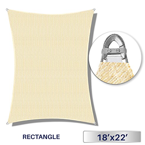 Windscreen4less A-Ring Reinforcement Large Sun Shade Sail 18 x 22 Rectangle Super Heavy Duty Strengthen Durable 260GSM -Galvanized Cable Enhanced – Beige 7 Year Warranty