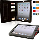 Snugg iPad Air 2 Case - Executive Smart Cover With Card Slots & Lifetime Guarantee (Black Leather) for Apple iPad Air 2