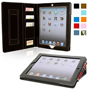 Snugg Leather Case with Card Slots for  Apple iPad 2 - Black