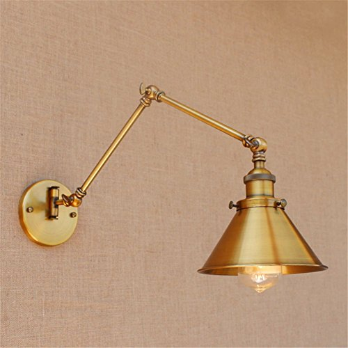 Twin Arm Sconce - Brass Wall Sconce Vintage Industrial Metal Wall Light Lamp Shade With Adjustable Swing Arm Lighting Fixtures