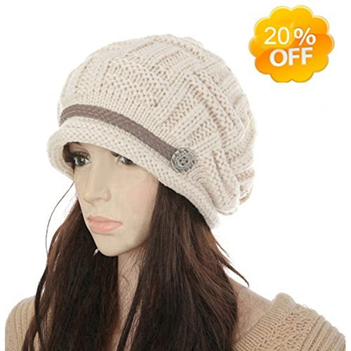 4fe7daa44e9a8f KirGiabo Slouchy Beanie for Women,Warm Wool Winter Hats, Soft Cable Knit Hat ,