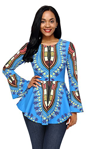HOTAPEI Women Plus Size African Printed Slim Fit Long Sleeve Clubwear Party Shirts Blouse Top Light Blue XX-Large