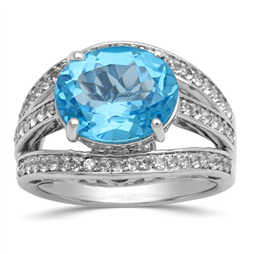 Jewelili Sterling Silver Oval Swiss Blue Topaz and Round White Topaz Ring, Size 7