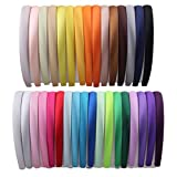 Girls Diy Satin Headbands Womens Hairbands 1.5cm Width(33pcs Per Pack Each Color 1pcs)