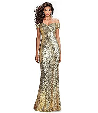 Fabulous Sequined Off-The-Shoulder Sweetheart Sequin Long