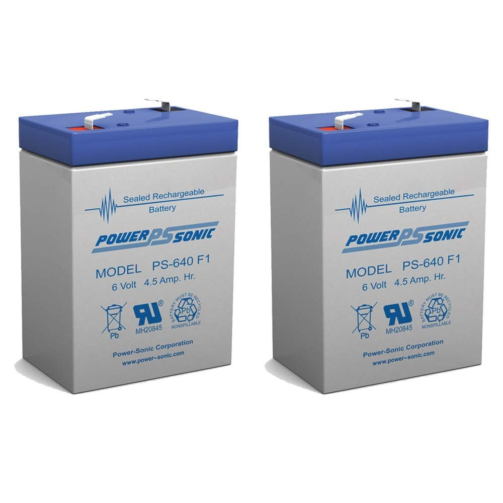 PS-640 6V 4.5AH SLA BATTERY F1 FAST ON TAB TERMINALS - 2 Pack Power-Sonic