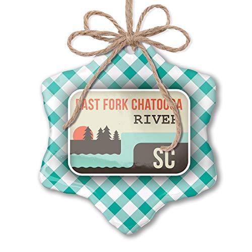 NEONBLOND Christmas Ornament USA Rivers East Fork Chatooga River - South Carolina Pastel Mint Green Plaid