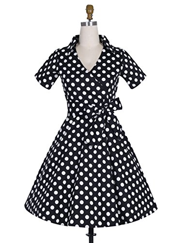 Dresstells Rockabilly Dress 1950s Retro Polka Dots Short Pleated Skirt Petticoat Cocktaildress Black Dot