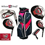 Wilson Prostaff Steel Shafted HDX Irons & Graphite Shafted HDX Woods Super Deluxe Mens Complete Golf Club Set & Prostaff Black/Red Cart Bag Mens Right Hand (Limited Edition, Only available from The Golf Store 4u Ltd)