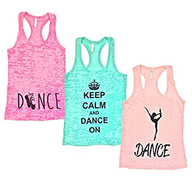 Beachcoco Women's Burnout Tank Top 3 Pack Deal Dance Printed Top (M, Neon Pink / Light Peach / Mint)